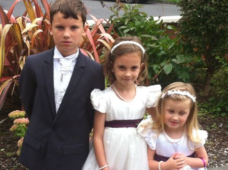 Theo, Freya and Esme all set for the wedding. Freya and Esme are flower girls - so exciting!