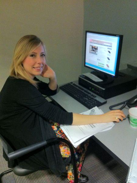 Amy at computer