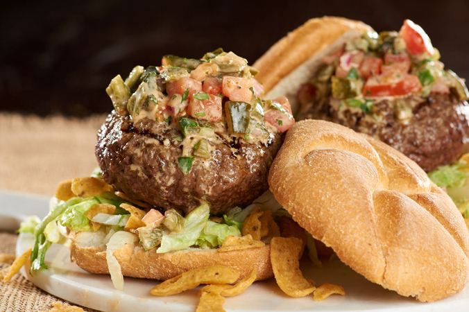 Stuffed Burgers with Poblano Pepper Relish