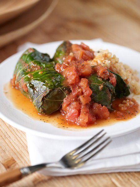 Risotto-Stuffed Collard Greens with Bacon