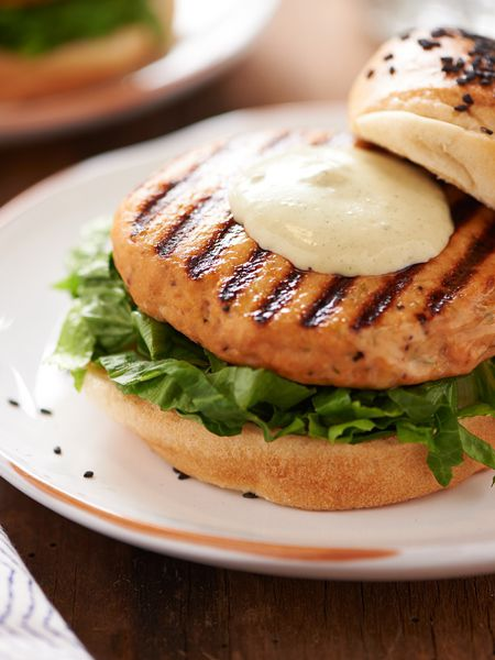 Salmon Burgers with Wasabi Mayo