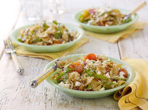 Summer Pasta Salad with Arugula, Bacon and Feta