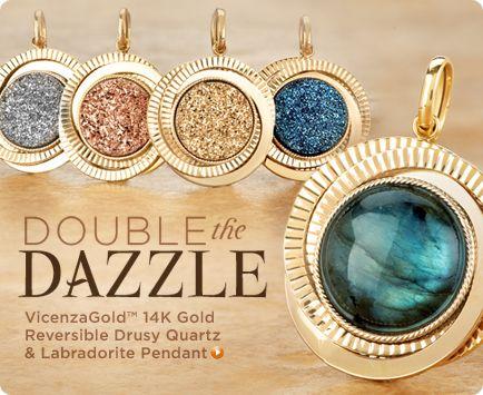 VicenzaGold 14K Gold Reversible Pendant