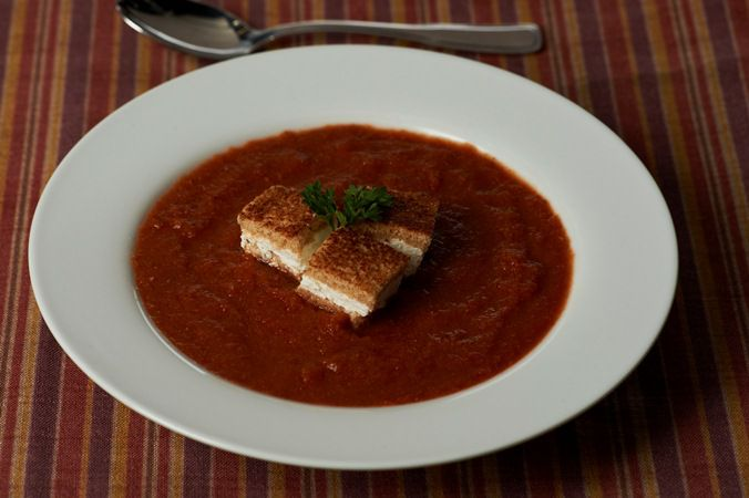 Warm Gazpacho with Goat Cheese Croutons
