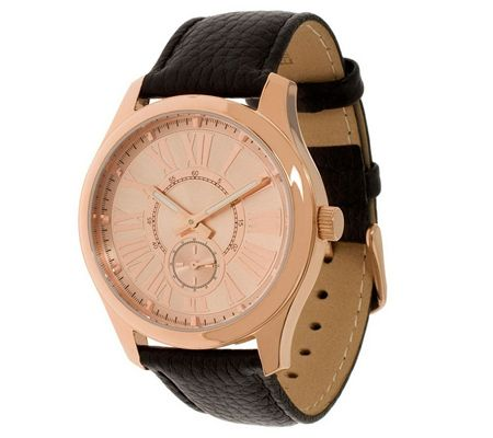 J270754: Bronzo Italia Roman Numeral Sub-Dial Strap Watch