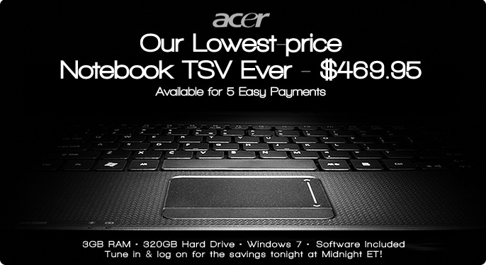 "Acer 15.6"" Notebook with 3GB RAM, 320GB HD, Windows 7"