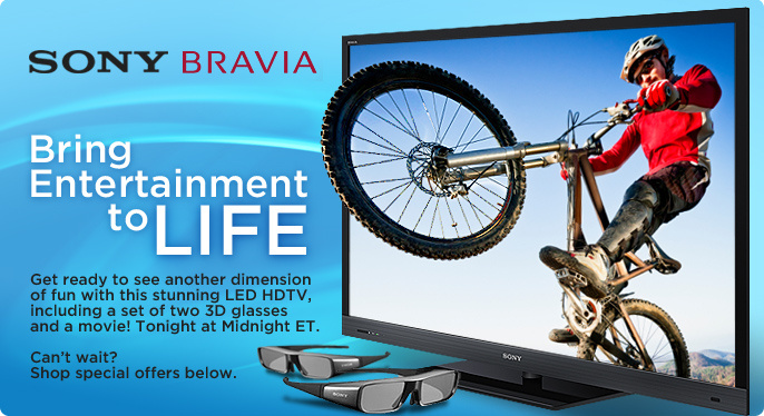 "Sony Bravia 46"" 1080p 3D LED/LCD HDTV"