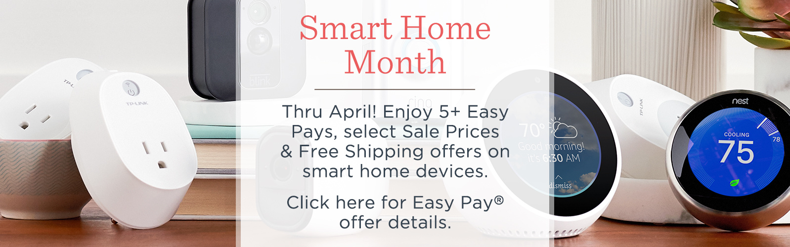 Smart Home Month.   Thru April! Enjoy 5+ Easy Pays, select Sale Prices & Free Shipping offers on smart home devices.  Click here for Easy Pay® offer details.