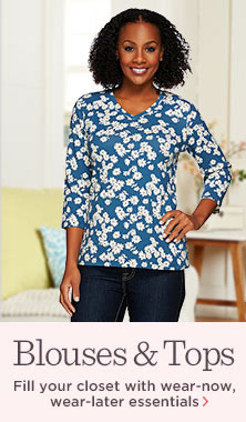 Denim & Co.(R) Floral-Printed 3/4-Sleeve V-Neck Top