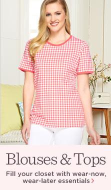 Denim & Co.(R) Gingham-Printed Short-Sleeve Knit Top