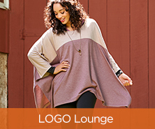 LOGO Lounge by Lori Goldstein French Terry Color-Block Poncho