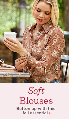 G.I.L.I.(TM) Long-Sleeve Button-Front Printed Blouse