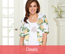 Quacker Factory Rose-Print Hoodie and Tank Set
