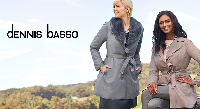 Dennis Basso Coat with Removable Faux-Fur Collar and Liner