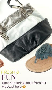 B. Makowsky pebble-leather & metallic croco-embossed tote; Clarks Artisan leather flower-detail thong sandals