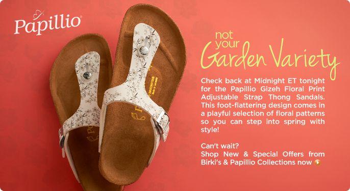 Papillio Gizeh Floral Print Adjustable Strap Thong Sandals