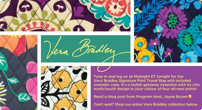 Vera Bradley Signature Print Travel Bag & Slim Cosmetic Case