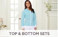 Quacker Factory Striped Jacket & Capri Pants Set