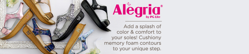 Alegria. Add a splash of color & comfort to your soles! Cushiony memory foam contours to your unique step.