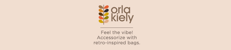 Orla Kiely. Feel the vibe! Accessorize with retro-inspired bags.