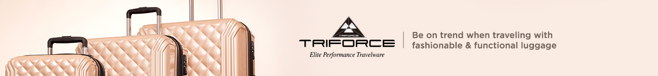 Triforce. Be on trend when traveling with fashionable & functional luggage