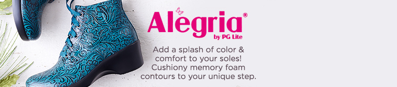 Alegria   Add a splash of color & comfort to your soles! Cushiony memory foam contours to your unique step.