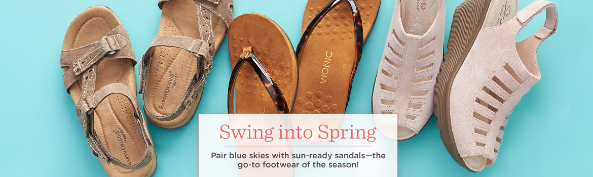 Swing into Spring.  Pair blue skies with sun-ready sandals—the go-to footwear of the season!