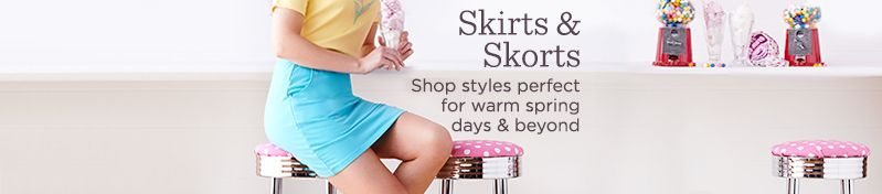 Skirts & Skorts.  Shop styles perfect for warm spring days & beyond