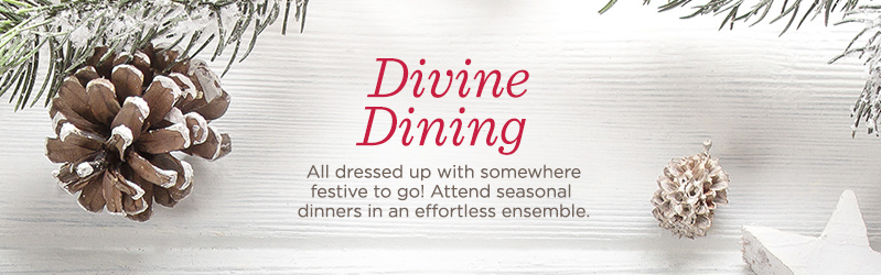 Divine Dining  All dressed up with somewhere festive to go! Attend seasonal dinners in an effortless ensemble.