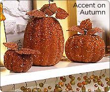Set of 3 glitter beaded pumpkins by Valerie Parr Hill