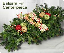 Fresh balsam centerpiece with decorative accents by Valerie