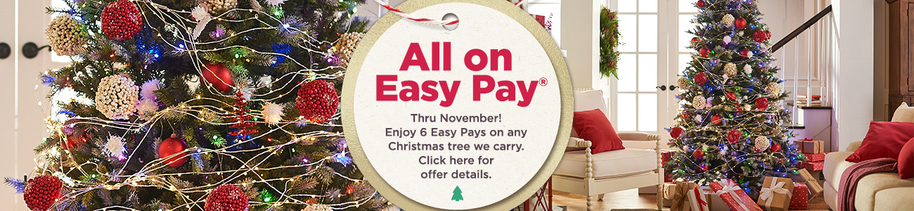 ALL on Easy Pay® . Thru November! Enjoy 6 Easy Pays on any Christmas tree we carry.  Click here for offer details.