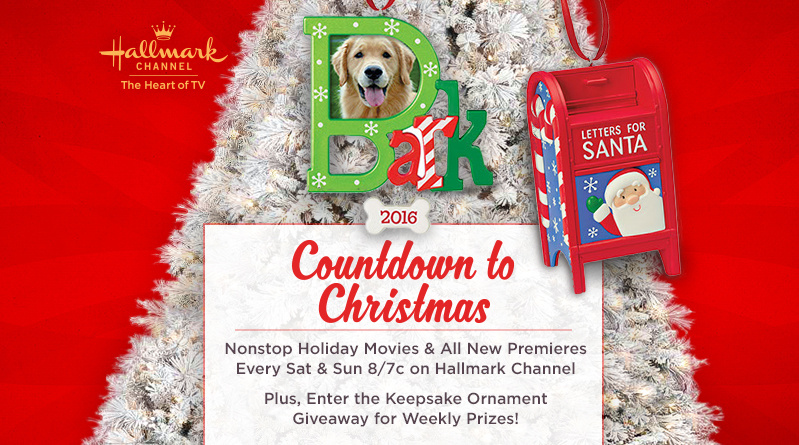 Countdown to Christmas, Nonstop Holiday Movies & All New Premieres Every Sat & Sun 8/7c on Hallmark Channel  Plus, Enter the Keepsake Ornament Giveaway for Weekly Prizes!