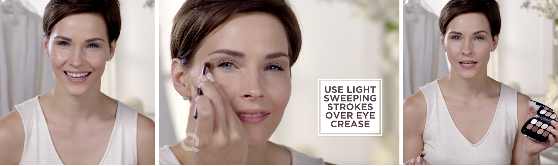 USE LIGHT SWEEPING STROKES OVER EYE CREASE