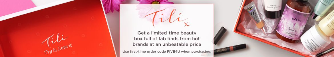 Tili. Get a limited-time beauty box full of fab finds from hot brands at an unbeatable price. Use first-time order code above when purchasing.