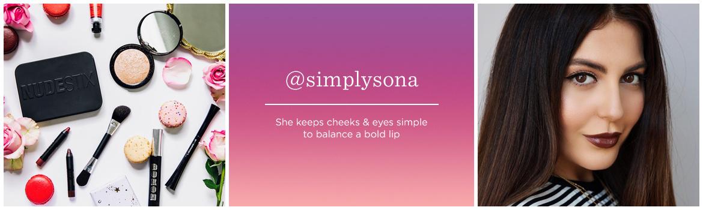 @simplysona  She keeps cheeks & eyes simple to balance a bold lip