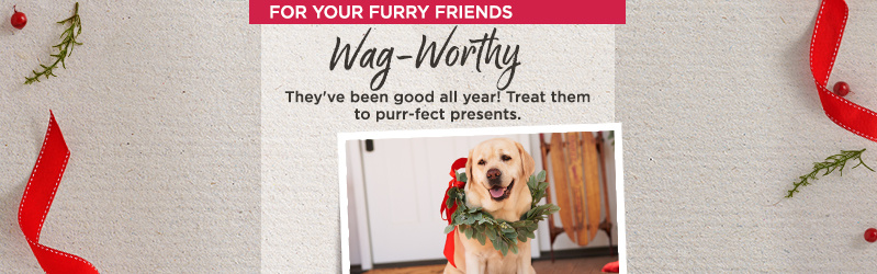 For Your Furry Friends. Wag-Worthy. They've been good all year! Treat them to purr-fect presents.