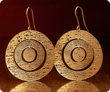 14K Gold Polished Mesh Circle Dangle Earrings