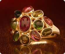 14K Gold Color of Tourmaline Domed Oval Ring