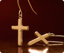 14K Gold Polished Cross Drop Earrings