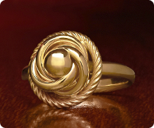 14K Gold Polished & Textured Love-Knot Ring