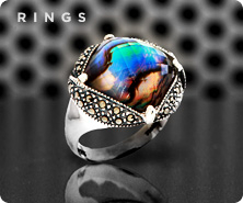 Suspicion(R) Marcasite & abalone doublet sterling ring