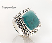 Sterling Bole Square Shaped Turquoise Ring