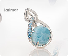 Sterling round Larimar & multi-gemstone enhancer