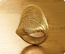 14K Gold Diamond-Cut Wire-Wrapped Saddle Ring