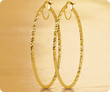 14K Gold Diamond-Cut Hoop Earrings
