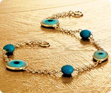 14K Gold Evil Eye & Turquoise Station Bracelet