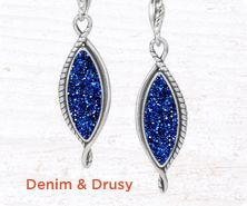 Carolyn Pollack Denim & Drusy sterling earrings