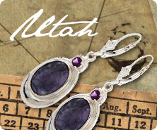 Sterling bertrandite & amethyst earrings