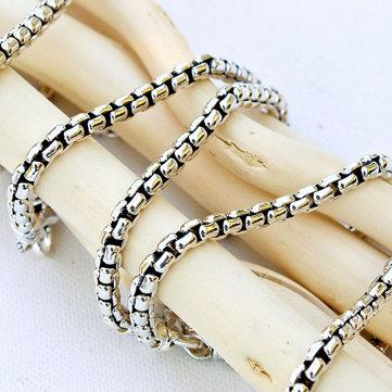 JAI Sterling Silver Round Box Chain Bracelet, 21.4g